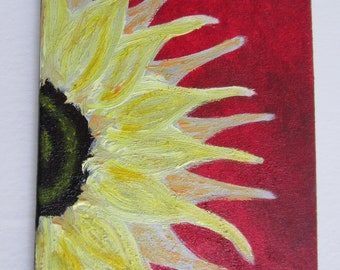 """modern red and yellow sunflower oil paintings 8""""x10"""""""