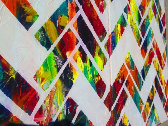"original colorful art- herringbone chevron- modern abstract- hand painted- oil painting- 32""x20"" canvas artwork- home decor- wall art- gift-"