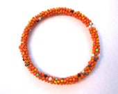 Handmade orange bead bracelet, gifts for her, pakistani jewelry