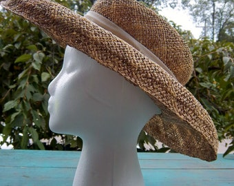 Vintage Large Straw Bucket Hat with Ribbon Lord & Taylor 1960s