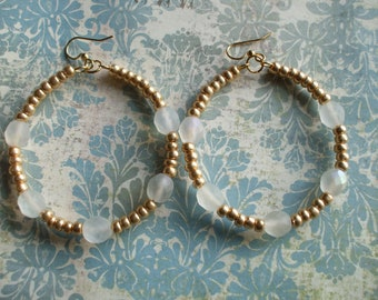 Frosted White and Gold Beaded Hoop Earrings