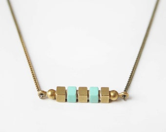 Geometric square bar necklace -Mint-