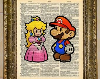 Paper Mario and Peach Dictionary Art