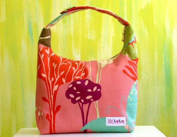 Insulated Lunch Bag, Girl Lunch Bag, Lunch tote, School Lunch Bag, Whimsical Forest in Pink Salmon