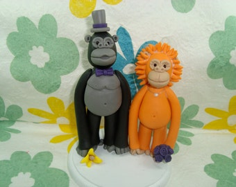 Custom Gorila and Orangutan Wedding Cake Topper