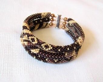 Brown bracelet - 3 Strand Bead Crochet Rope Beadwork Bracelet - beaded jewelry - seed beads bracelet - brown creamy ivory