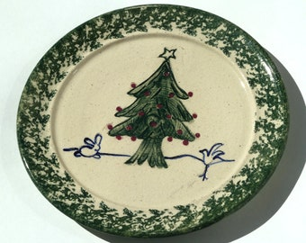 80s Handpainted Terracotta Christmas Tree Cookie Plate, Abstract Whisical Shapes Artist Signed  in Wedding White Forest Green & Navy Blue