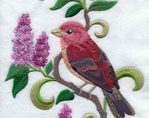 New Hampshire Purple Finch and Purple Lilac Medley - Embroidered ...