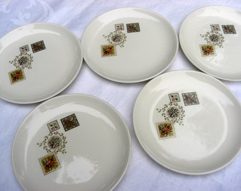 Taylor Smith Taylor Vintage - Ever Yours Shape - Brocatelle Pattern - 4 Bread and Butter Dessert  Plates