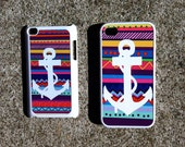 Colorful Tribal Aztec Print with White Anchor iPhone 4/4s Case Cover