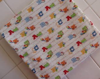 Adorable ABC's, Cotton Flannel Baby Blanket, Baby Blanket, Receiving, Swaddling, Gift Idea, Baby Gift, Baby Boy, Baby Shower, Gift Theme