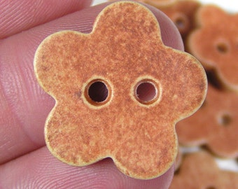 Brick Red Flower Buttons Matte Antiqued Finish 7/8 Inch Set of 5