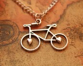 bike necklace,retro silver love bike,alloy necklace---N051 - fabuloustime
