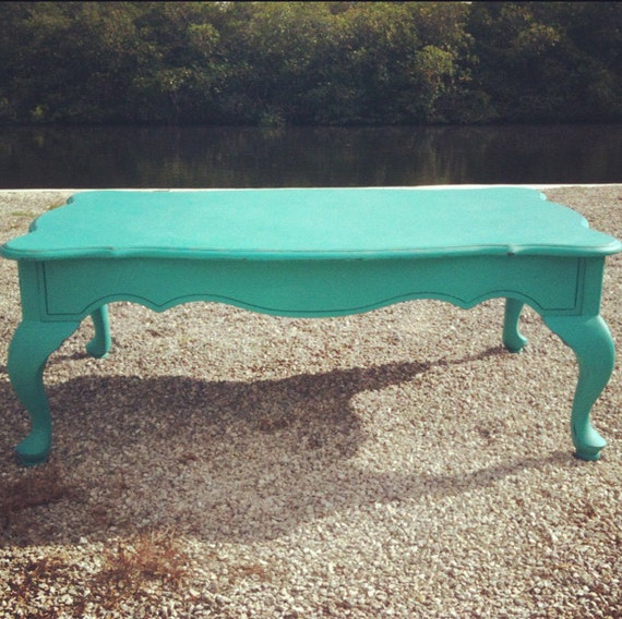 Distressed Blue Coffee Table: Turquoise Blue Green Coffee Table Lightly Distressed