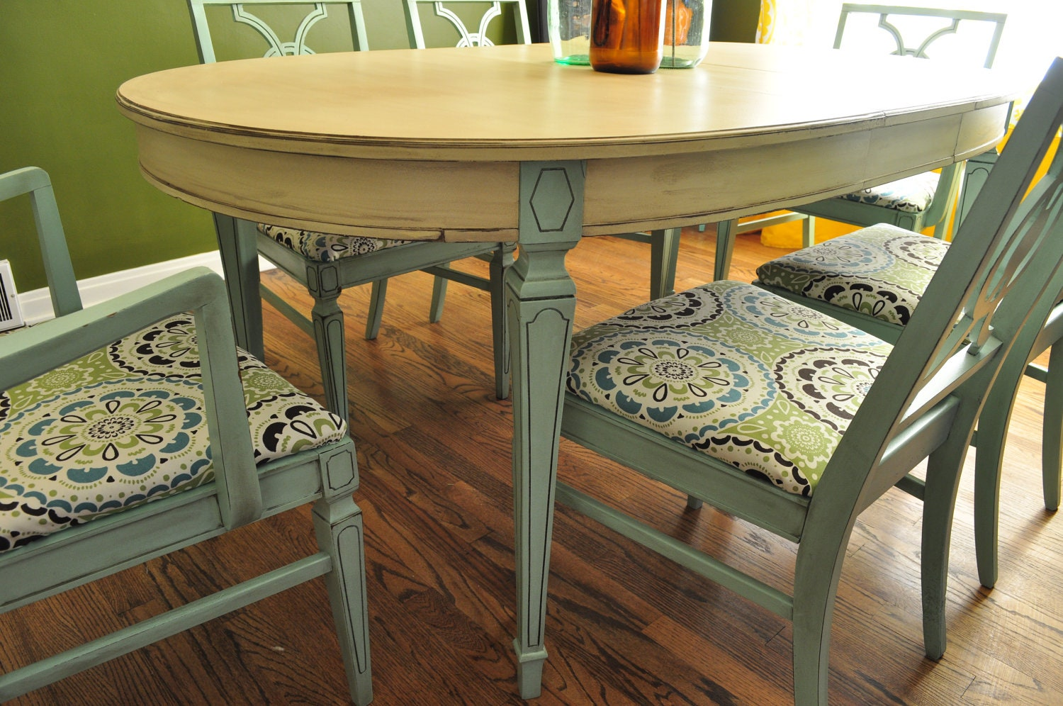 Items similar to sold custom painted dining room table an chairs on etsy - Refinish contemporary dining room tables ...