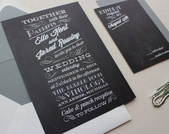 Rustic Wedding Invitation, Wedding Invitations, Modern, Typography, Custom Wedding Invitation Set - Chalkboard Deposit