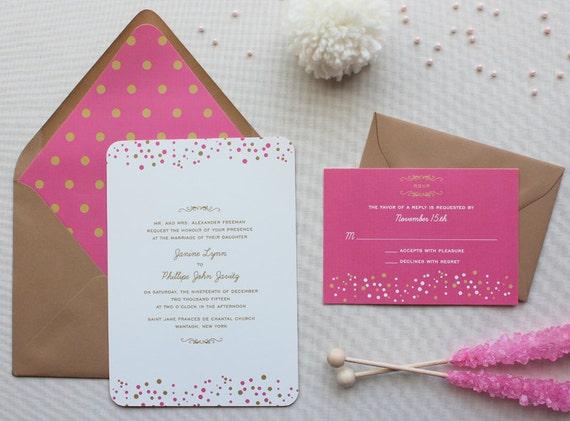 Confetti Wedding Invitation Suite, Modern Wedding Invitations, Pink and Gold, Sweet Wedding Invitation Suite - Confetti Dots   Sample Set