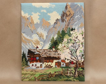 Vintage Needlepoint Artwork- Scenic Mountain with Barn- Vintage Home Decor
