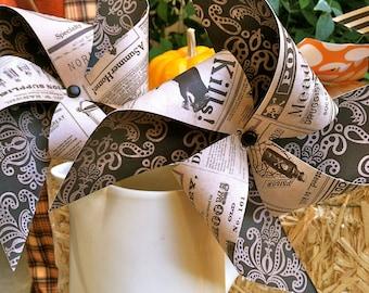 Pinwheels - Halloween Vintage Style Newspaper Pinwheels - set of 4 Pinwheels