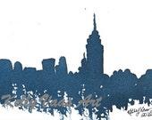"Blue New York City Skyline, 8.5x11"" Print"