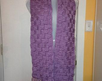 Lavender Basket-weave Scarf with Fringe