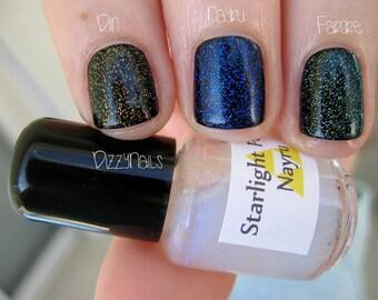 Din Color Shifting Sparkle Glitter Top Coat Custom Nail Polish 15mL