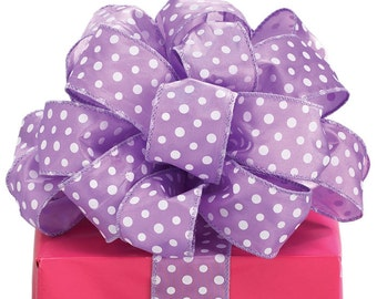 PURPLE POLKA DOT RiBbOn -   FaNcY  Wired Ribbon   Pretty Packages and Gifts - Hairbows - Giftwrap - Bows
