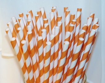 ORANGE Striped Paper Straws, 30 Paper Drinking Straws, Ice Cream Social, Carnival, Fall, Halloween, Garfield, Party,Wedding, Birhday, Events