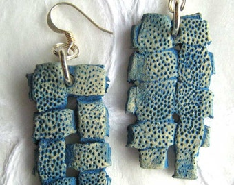 jewelry earrings woven paper clay 'coral'  in medium blue