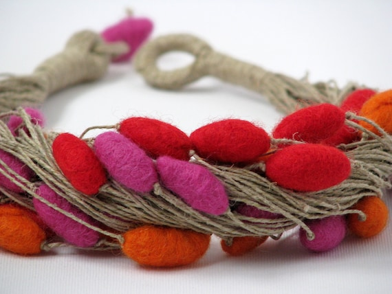 Felt Colorful Unique Linen Necklace with Felted Beads Jewelry Handmade Merino Wool Boho