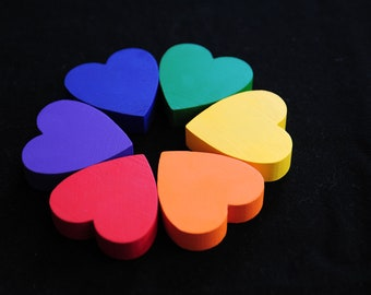 Montessori Toy - Wooden Toy, Sorting Hearts Educational Toy / Waldorf