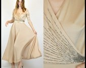 Vintage 70S plunging nude beige beaded goddess draped swing maxi dress gown
