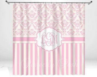 Pink Personalized Custom Shower Curtain Monogram with Name or Initials perfect for any bathroom