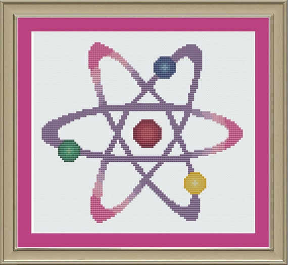 Colorful Atom Nerdy Cross-stitch Pattern