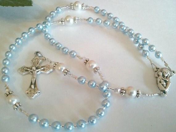 Tiny Blue Swarovski Pearl Rosary, Baptism Keepsake Rosary