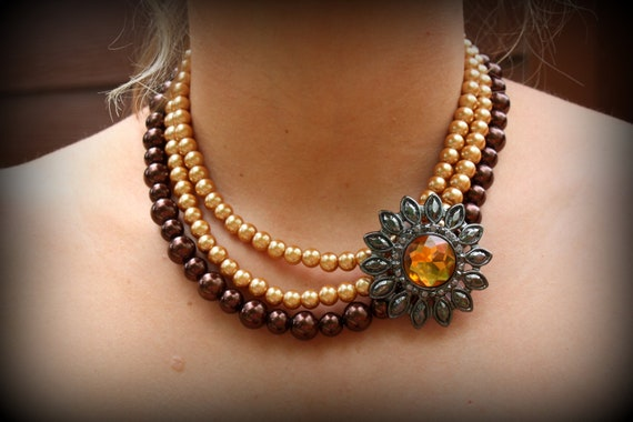 RESERVED for Sarah - Vintage Style 3 strand pearl necklace with brooch in chocolate/bronze