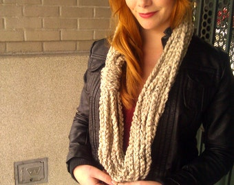 Oatmeal Scarf - Crochet Infinity Scarf - Gift for her - perfect gift
