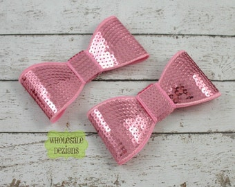 Pink Sequin Bow Appliques - Two Big Bows - 5 Inch - 2 Large Bows - DIY Bows - Wholesale Bows