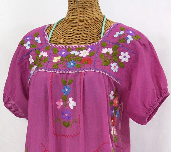 "Mexican Peasant Blouse Top Hand Embroidered: ""La Bellezza"" Pink"