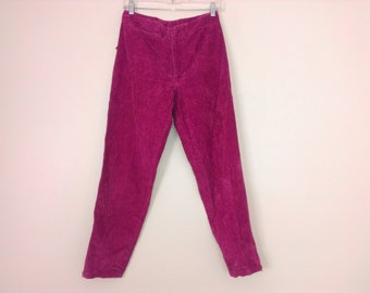 80s vintage girl large purple corduroy pants
