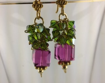 Sparking Fuschia Swarovski and Green Crystal Earrings
