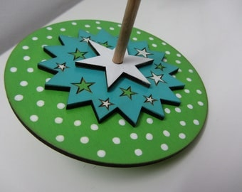 Eco friendly 3 layered green white and turquoise polka dot dreidel Hanukkah spinning top)