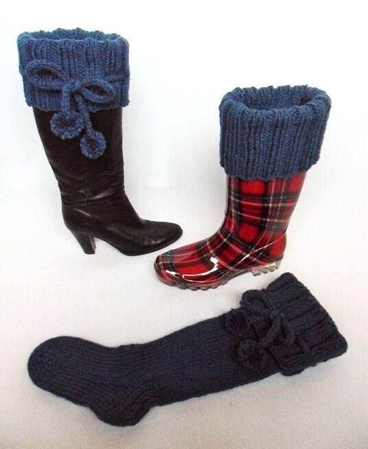Knee high long chunky boot socks knitting pattern by ...