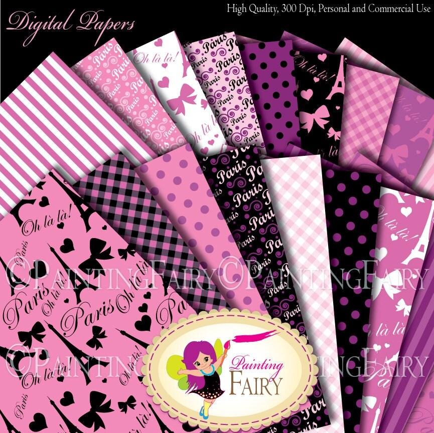 As Creation Pink Paris Pattern Eiffel Tower Childrens: Paris Chic Digital Papers Pink Purple Paper Pack Eiffel