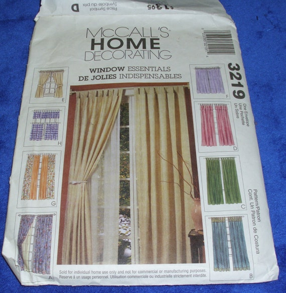 McCalls WINDOW ESSENTIALS CURTAIN Pattern Home Decorating