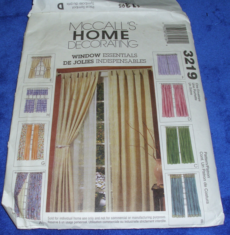 McCalls WINDOW ESSENTIALS CURTAIN Pattern Home Decorating