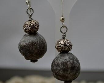 Rocky Pewter Dangle Earrings