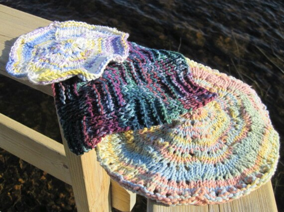 Set of Three (3) Cotton Dishcloths: Hand Knit Washcloths, Varied Sizes and Colors