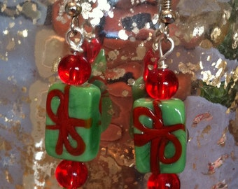 Glasswork Christmas Present Earrings