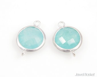 2pcs - Ice Mint Color and Matted Silver Framed Round Connector / ice mint / mint / matte rhodium plating / gemstone /11mm x 16mm /SMTMS002-C